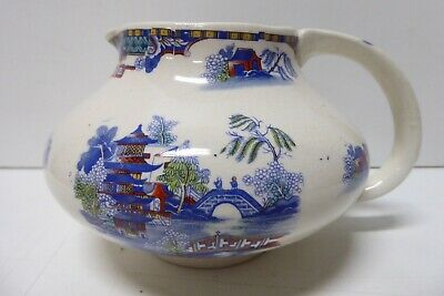 Antique Chinoiserie Hand Painted Ceramic Pottery Jug Japanese Pagoda