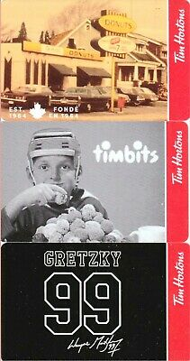 New! Set Of 3! 99 Wayne Gretzky 99 Tim Hortons Gift Card Rc The Great One!