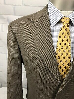 Tommy Hilfiger Mens Brown Houndstooth &Windowpane Suit Sz 42R Pants36X30.5