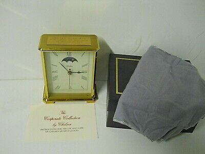 Vtg Chelsea Moon Phase Brass Table Clock Corporate Collection Hermle 2100 Quartz
