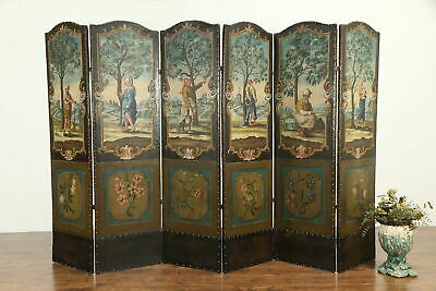 Hand Painted Antique 6 Panel Screen, Renaissance Scenes &  Trompe-l'œil #32906