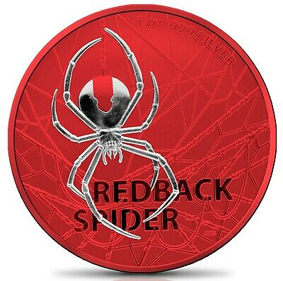 2020 Australia $1 Redback Spider SPACE RED 1 oz 999 Silver Coin - 250 made