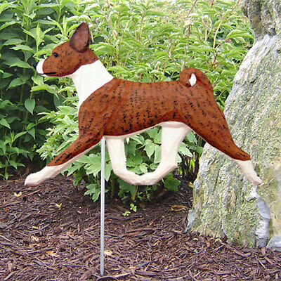 Basenji Outdoor Garden Sign Hand Painted Figure Brindle/White
