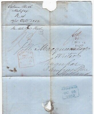 ! Halifax Canada Pmk Red Pkt Letter Paid Liverpool >J W Macqueen Sanquhar 1852
