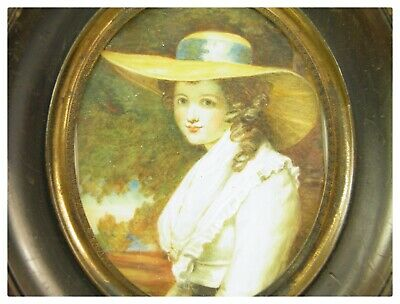 Antique late 19th century English portrait miniature painting young lady in hat