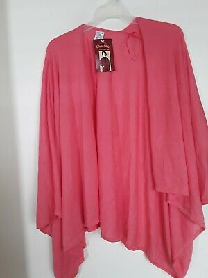 Faded Glory ~ Womens Kimono Wrap Knit Sweater ~ One Size Peach Open Cover Top