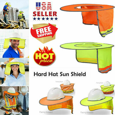 Safety Hard Hat Yellow Neck Shield Helmet Sun Shade Reflective Stripe Sunscreen
