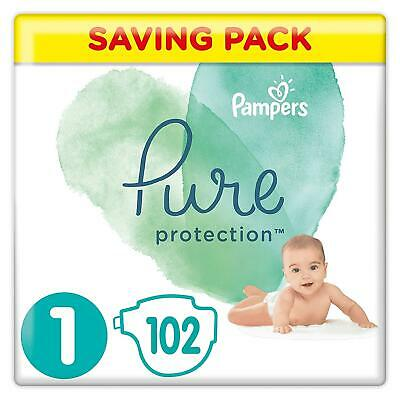 Pampers Pure Protection Size 1, 102 Nappies, 2-5 Kg, Saving Pack, Made With Mate
