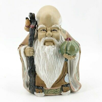 Vintage Mud Man Figurine Chinese Wise Old Man Holding Fruit Peach Gray Beard