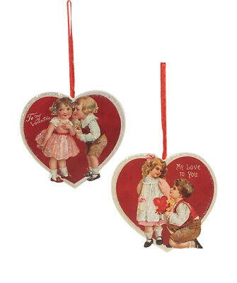 Bethany Lowe Valentines Day Vintage Children Hearts Ornament Set/2 Decorations
