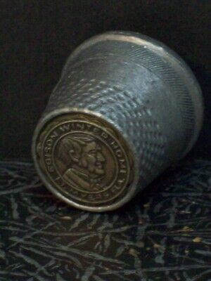 Thomas Edison Winter Home Fort Myers FL Pewter Thimble Vintage Florida Souvenir