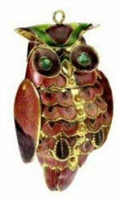Owl Bejeweled Articulated Cloisonne Metal Bird Christmas Tree Ornament