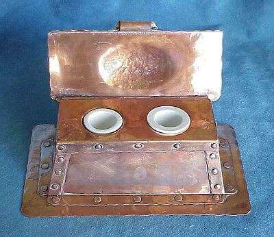 Antique Signed Arthur John Seward Copper ARTS & CRAFTS Double Inkwell Stand