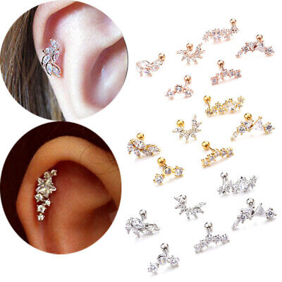 Cz Zircon Stainless Steel Cartilage Ear Stud Helix Tragus Piercing Earring