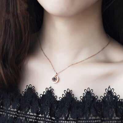 Love Necklace 100 Languages Pendant Projection Light Gold Silver Heart Rose Gift