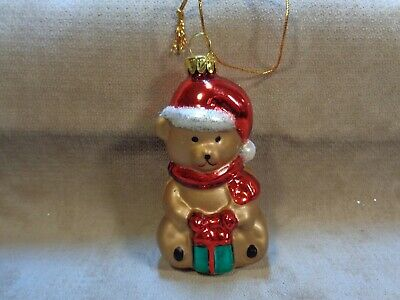"""Teddy Bear With Present Miniature Glass 3.25"""" Holiday Ornament (Cb2306)"""