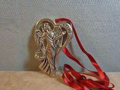 "Vintage Gorham Silver Plate ""Love"" Angel Christmas Ornament (Cb3222)"