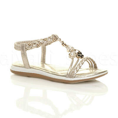 Womens Ladies Flat Wedge T-Bar Strappy Diamante Pearl Flower Sandals Size 3 36