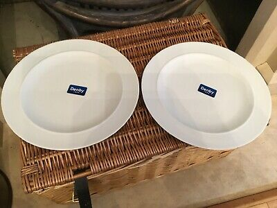 Denby White Dinner Plates X 2 New With Labels Approx 11.5 Inches
