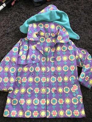 Brights And Stripes Girls Floral Coat Age 4-5 Purple/yellow/green