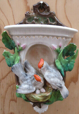 Antique Ceramic Wall Vase / Planter with birds - marked