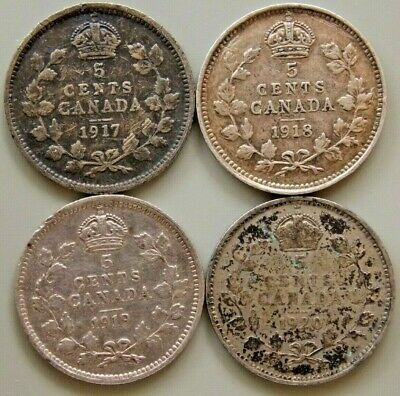 1917 1918 1919 1920  Canada Canadian Silver 5 Cent George V Coins - Lot Of 4