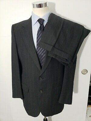 VTG Burberry Wool 2 Pc Suit Gray Striped Heavy sz 40R Pleated pants 36 x 32