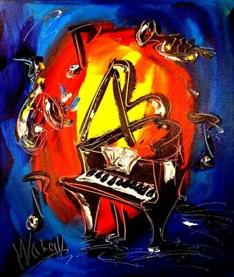 MUSIC JAZZ  PIANO   Large Abstract Modern Original Oil Painting by Mark Kazav
