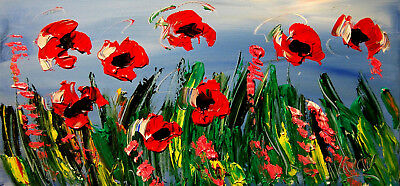 RED FLOWERS  by Mark Kazav  Abstract Modern CANVAS Original IMPRESSIONIST 24""