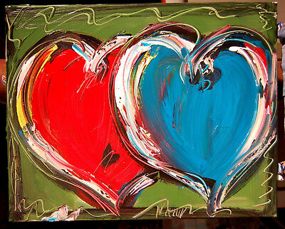 TWO HEARTS LOVE  Mark Kazav  Abstract Modern CANVAS Original Oil Painting 8934T