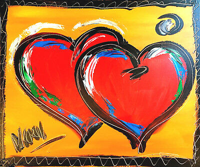 2 HEARTS  original oil painting TEXTURED MODERN ABSTRACT yr23T4