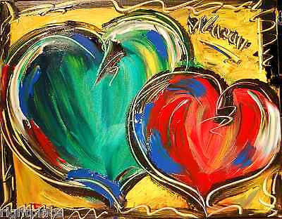 HEARTS LISTED BY MARK KAZAV  Modern  Original Abstract Painting OIL RTHH