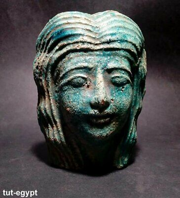 Rare ancient large faience stone blue cleopatra bust,323 B.C.