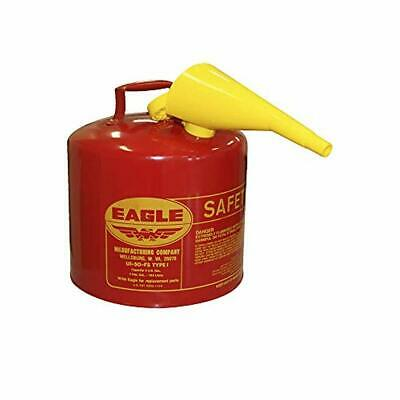 Eagle UI-50-FS Red Galvanized Steel Type I Gasoline Safety Can with Funnel, 5 ga