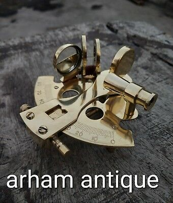 Nautical Solid Brass A Very Very Small Sextant Good For Display Purposes Only.