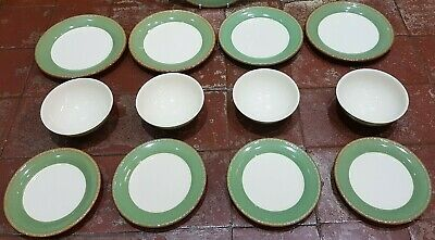 Bhs Brecon Green Part Dinner Set - Dinner Salad Tea Plates & Cereal Bowls (19Pc)