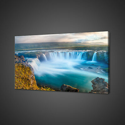 Stunning Godafoss Waterfall In Iceland Canvas Print Wall Art Picture Photo