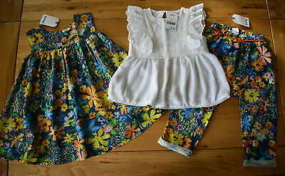 BNWT NEXT 2-3 years girls WHITE SMART TOP FLORAL TRASERS*DRESS SET/BUNDLE