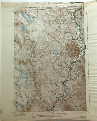 1936 Geological Survey Topographic Map VT &  NH Bloomfield Lemington Canaan