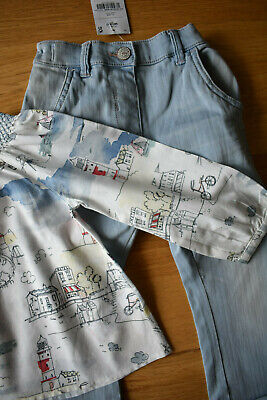 BNWT NEXT 18-24 months girls NAUTICAL BLOUSE WITH BLUE JEANS SET