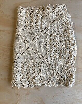 "Vintage Handmade Crochet Knitted Tablecloth Dinner Cloth Cream Color 38""X 56"""