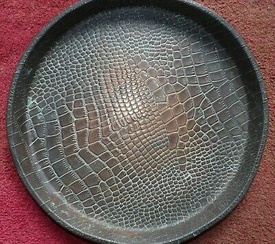 Signed Joseph Sankey & Sons Crocodile Skin Patterned Copper 14 Inch Serving Tray