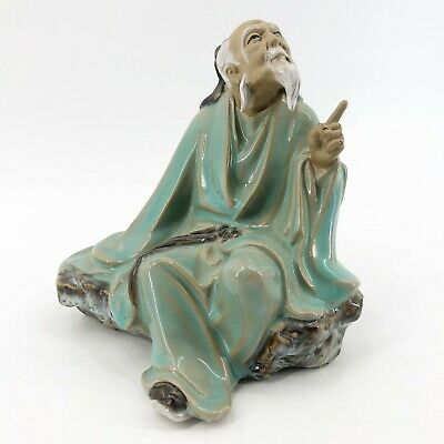 """Vintage Shiwan Chinese Mudman Sitting On A Rock Pointing Finger Figurine 6.5"""""""