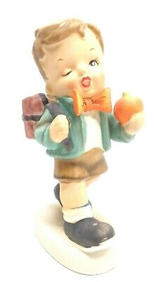 VINTAGE 1950s ARNART CREATIONS HAND PAINTED PORCELAIN SCHOOL BOY FIGURINE #3373C