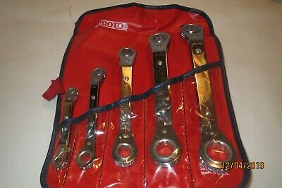 Vintage Proto 5 Piece 12 point Offset Reversible Ratcheting Box Wrench Set NOS