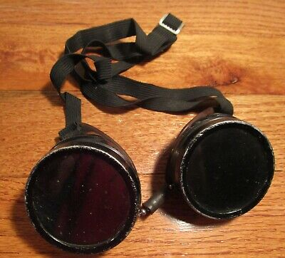 Vintage Welding or Motorcycle Goggles with Strap – Steampunk