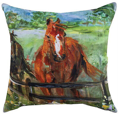 """Pillows - """"Stately Stallion"""" Indoor Outdoor Pillow - 18"""" Square - Horses"""