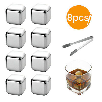 Stainless Steel Whisky Stones Reusable Ice Cubes Drink Chillers Cooling Rocks