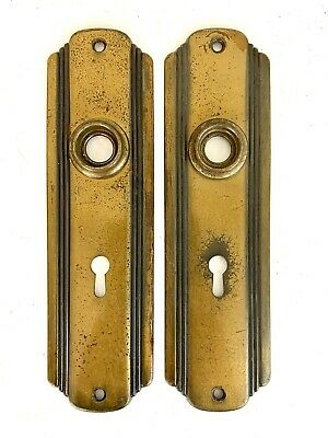 2-Vintage architectural Salvage brass door knob back plates key hole hardware