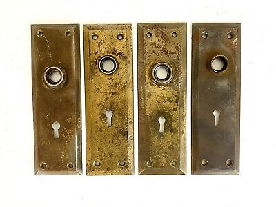 4 Vintage architectural Salvage brass door knob back plates key hole hardware